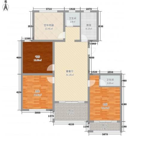华夏春晓3室1厅2卫1厨158.00㎡户型图