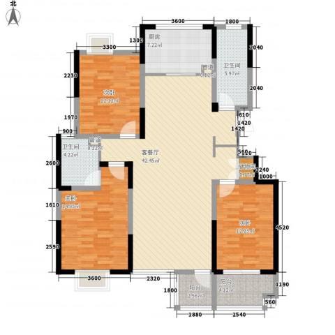 文华苑3室1厅2卫1厨153.00㎡户型图