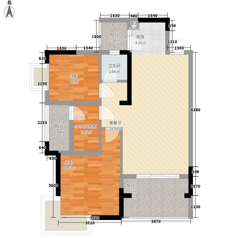 香域中央87.24㎡k3-5#01、02户型3室2厅1卫1厨