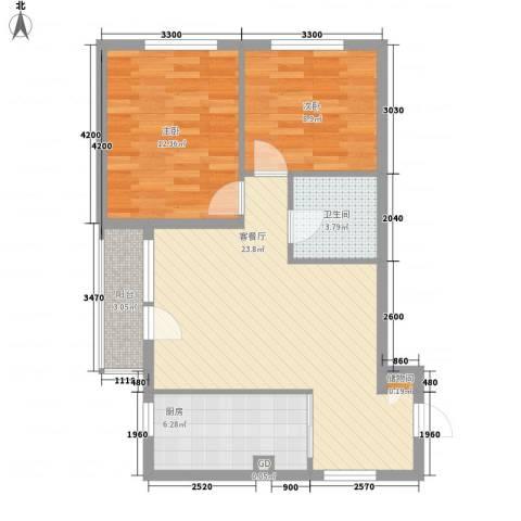 秀水小区2室1厅1卫1厨83.00㎡户型图