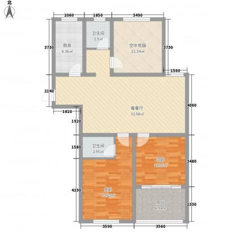 华夏春晓2室1厅2卫1厨128.00㎡户型图