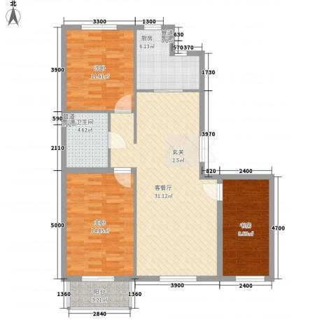 嘉宝华庭 嘉华园3室1厅1卫1厨109.00㎡户型图