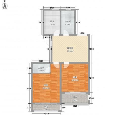 华夏春晓2室1厅2卫1厨112.00㎡户型图
