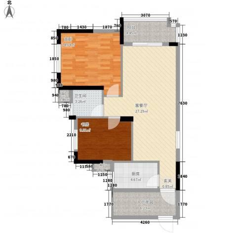 富川瑞园2室1厅1卫1厨100.00㎡户型图