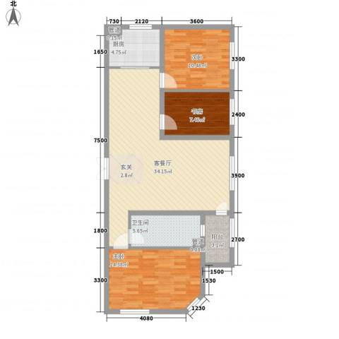 嘉宝华庭 嘉华园3室1厅1卫1厨114.00㎡户型图