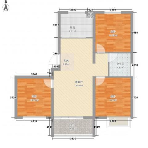 东方巴黎城3室1厅1卫1厨107.00㎡户型图