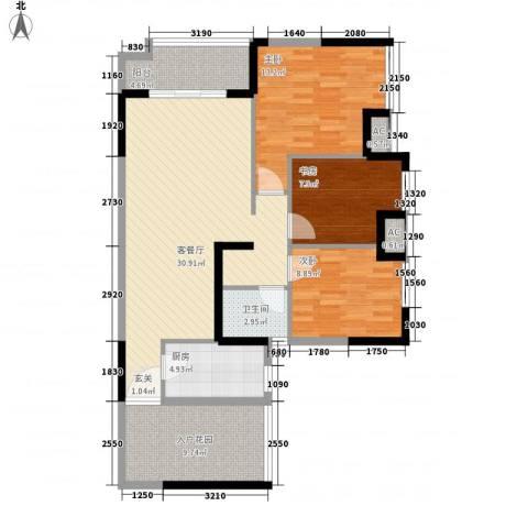 富川瑞园3室1厅1卫1厨121.00㎡户型图