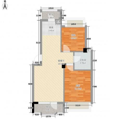 中庚香海连天2室1厅1卫0厨54.49㎡户型图