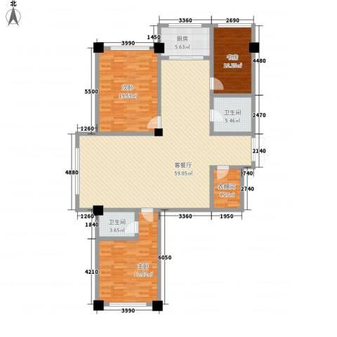 中凯华庭3室1厅2卫1厨174.00㎡户型图