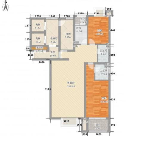 都市节奏2室1厅2卫1厨131.00㎡户型图