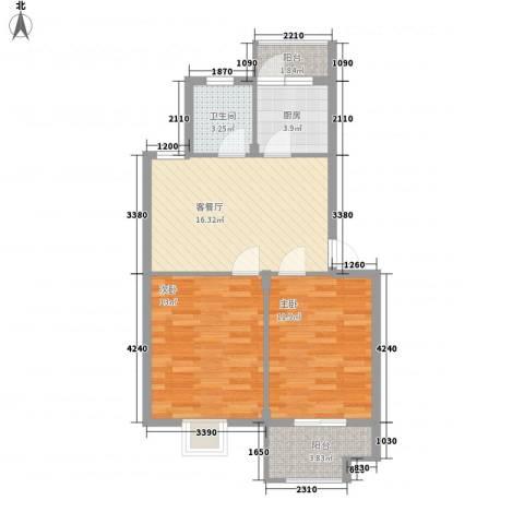 东裕新村2室1厅1卫1厨76.00㎡户型图