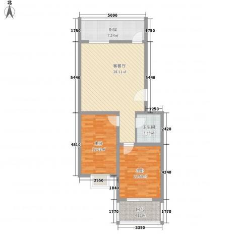 果岭小镇项目2室1厅1卫1厨89.00㎡户型图