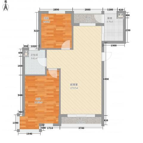 聚鑫小区三期2室0厅1卫1厨88.00㎡户型图