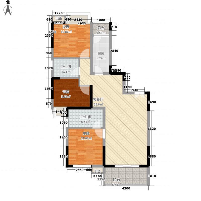 万通金牛新都会125.00㎡4号楼c4户型3室2厅2卫1厨