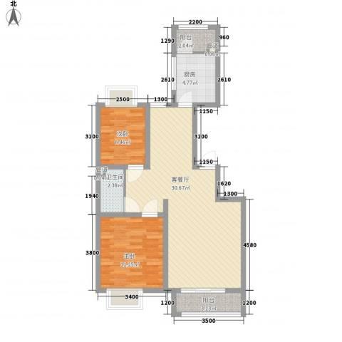 银海湾2室1厅1卫1厨91.00㎡户型图
