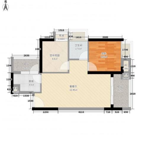 锦地繁花1室1厅1卫1厨75.00㎡户型图
