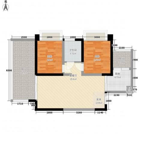 三利宅院领事公馆2室1厅1卫1厨78.00㎡户型图