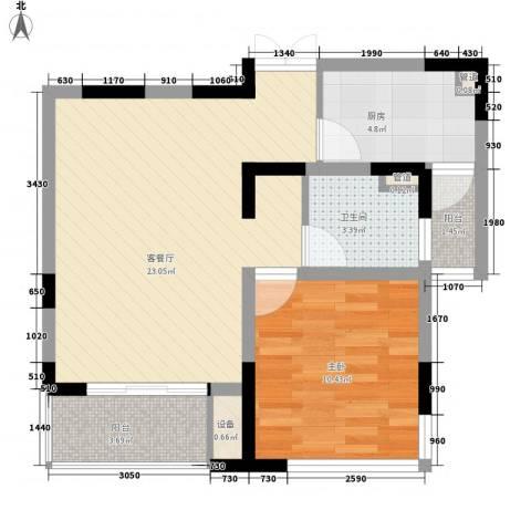 狮山丽晶1室1厅1卫1厨70.00㎡户型图