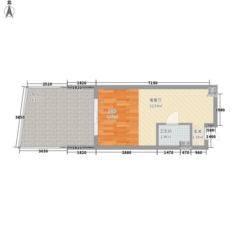 海南・金湾57.00㎡博鳌金湾户型图海景公馆A户型图1室1厅1卫1厨户型1室1厅1卫1厨
