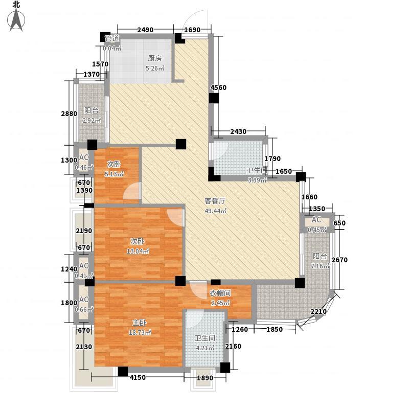 安厦琥珀漓江127.31㎡7E8层户型3室2厅2卫1厨