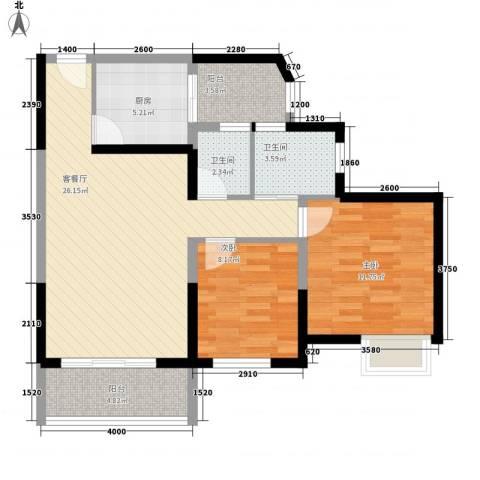 商会大厦2室1厅2卫1厨95.00㎡户型图