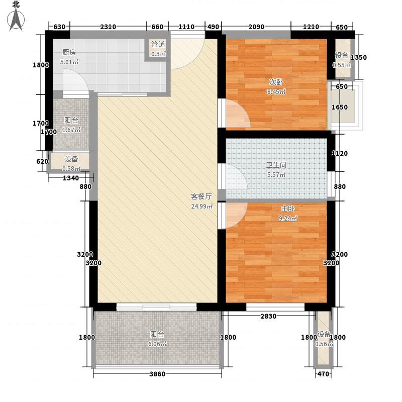 万通金牛新都会79.00㎡2号楼1单元A4户型2室2厅1卫1厨