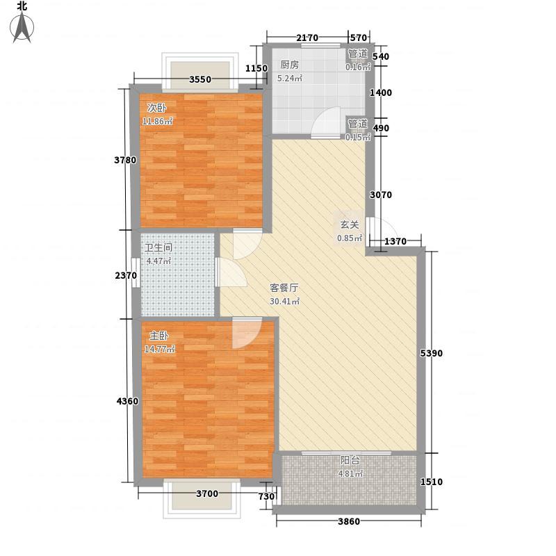 龙泽家园98.50㎡6号楼2房户型2室2厅1卫1厨