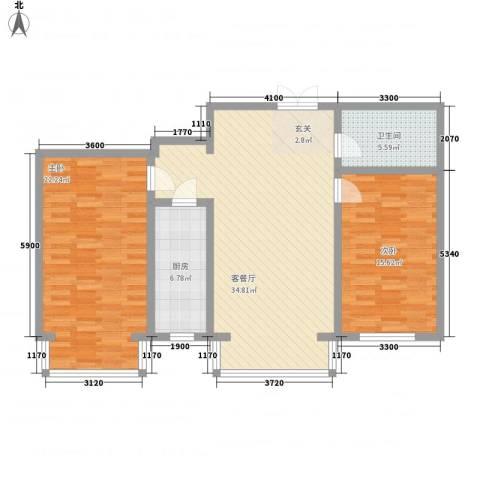 中华名苑2室1厅1卫1厨119.00㎡户型图