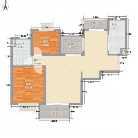 汇泰锦城2室1厅1卫1厨64.34㎡户型图
