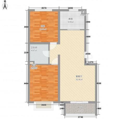 银海湾2室1厅1卫1厨97.00㎡户型图
