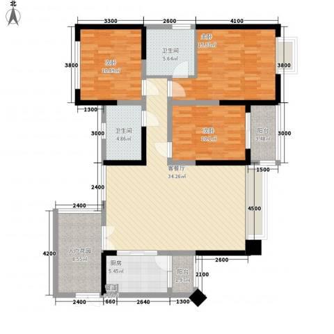 三利宅院领事公馆3室1厅2卫1厨126.00㎡户型图