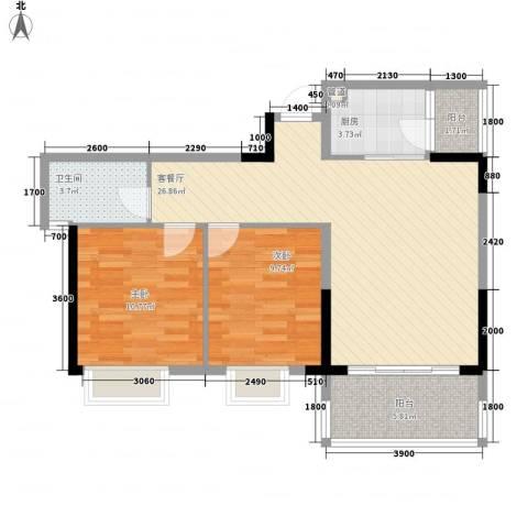 广汇东湖城2室1厅1卫1厨84.00㎡户型图
