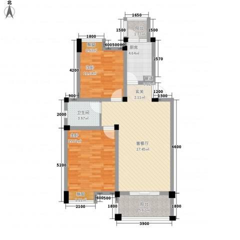 海德公园2室1厅1卫1厨81.61㎡户型图