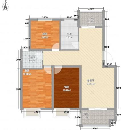 海德公园3室1厅1卫1厨98.25㎡户型图