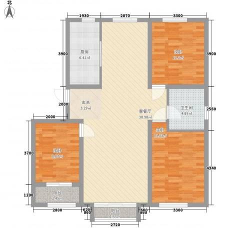 天承锦绣3室1厅1卫1厨125.00㎡户型图