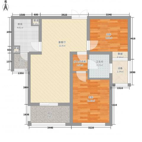 中央广场2室1厅1卫1厨90.00㎡户型图