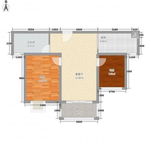 海德公园2室1厅1卫1厨72.28㎡户型图