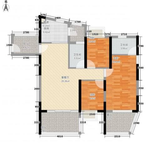 金地梅陇镇四期3室1厅2卫1厨126.00㎡户型图