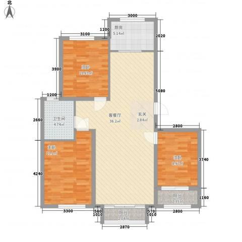 天承锦绣3室1厅1卫1厨118.00㎡户型图