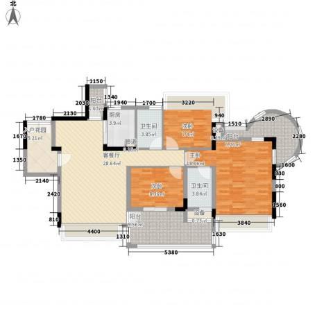 幸福枫景花园3室1厅2卫1厨112.00㎡户型图