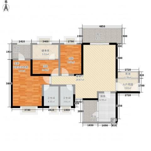 汇泰锦城3室1厅2卫1厨152.00㎡户型图