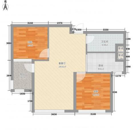 「大连天地」悦翠台2室1厅1卫1厨78.00㎡户型图
