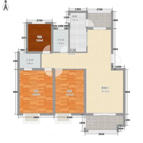 海德公园3室1厅2卫1厨112.49㎡户型图