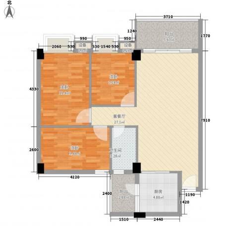 尚境雅筑3室1厅1卫1厨103.00㎡户型图