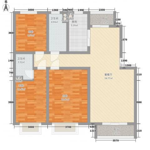 银海湾3室1厅2卫1厨118.00㎡户型图