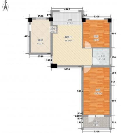 金山名苑2室1厅1卫0厨71.00㎡户型图