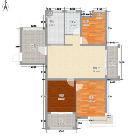 海德公园3室1厅1卫1厨96.61㎡户型图