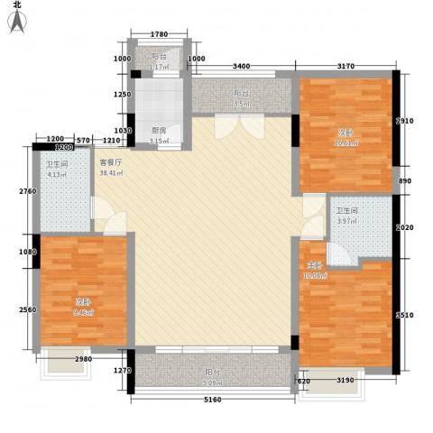 国信御湖公馆3室1厅2卫1厨128.00㎡户型图