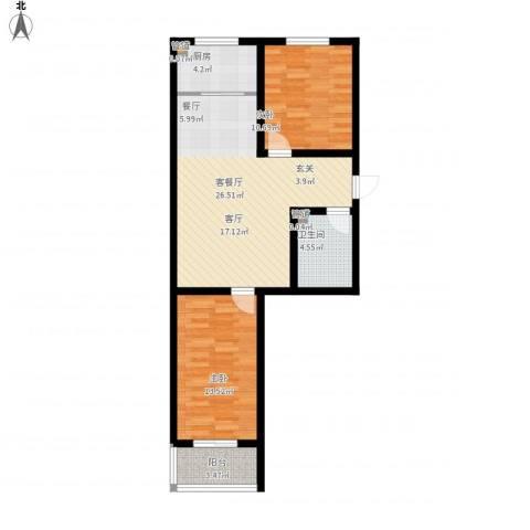 榕城世家2室1厅1卫1厨91.00㎡户型图