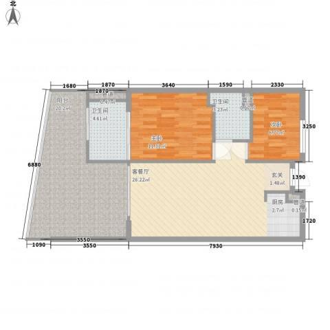 海南・金湾2室1厅2卫0厨101.00㎡户型图